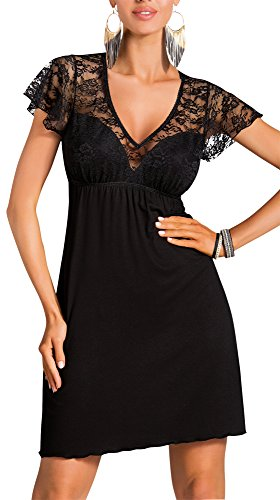 R-Dessous Donna sexy Negligee Nachtkleid Sleepshirt Damen Viskose Nachtwäsche Nachthemd mit Träger Dessous