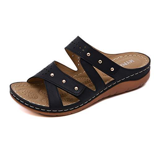 Dorical Damen Mode Sandalen Strass Flip Flops Sommer Pantoffeln Mit Keilabsatz,Zehentrenner Pantoffeln Slippers Schlappen für Frauen Übergroß 35-41 EU(Z2-Braun,41 EU)
