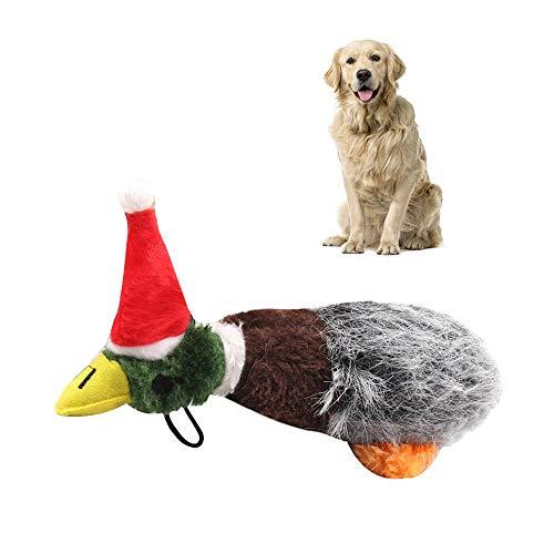 Womdee Hundespielzeug Plüsch Quietscher, Quietschende Stockente Hundespielzeug Plüsch Welpe Hupende Ente für kleine mittelgroße Hunde -
