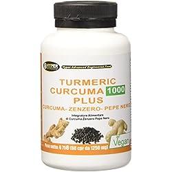 Turmeric Curcuma 1000mg Curcumina + Piperina + Zenzero Capsule a dosaggio elevato estratto secco di curcuma titolato al 95% e di Pepe nero titolato al 95% Curcumina 60 compresse
