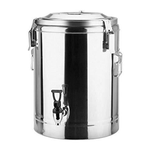 LJXWH Kommerzieller Edelstahl isolierte Fassmilch-Teefässer mit großer Kapazität Sojamilch-Eimer Kräutertee-Reisbrei-Fass Heißwassereimer (Farbe : Silber, größe : 30L)