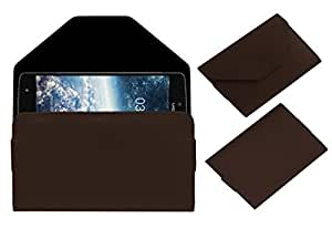Acm Premium Pouch Case For Videocon Krypton 3 V50jg Flip Flap Cover Brown