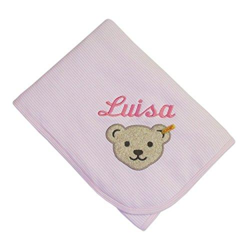 Babydecke mit Ihrem Wunsch Namen bestickt rosa Steiff Collection 6650 fein gestreift 90 cm x 60 cm