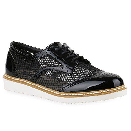 Damen Halbschuhe Lack Glitzer Brogues Dandy Schuhe Profilsohle Schwarz Transparent