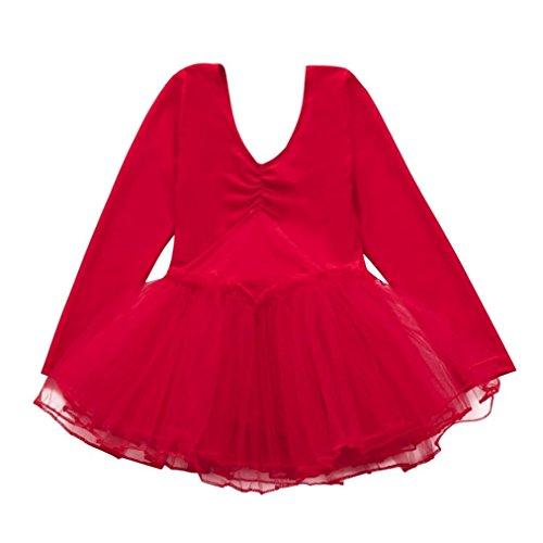 1-4 Jahre alte Mädchen Kleinkind Gaze Trikots Tops Body Dancewear Ballett Kostüme (3-4 Jahre alte, Rot) (Tanz Trikot Kostüme)