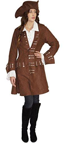 ratenkostüm Damen Piratin Kostüm braun Jacke und Hut, Größe:L (Piraten Jacke Braun Wildleder Kostüme)