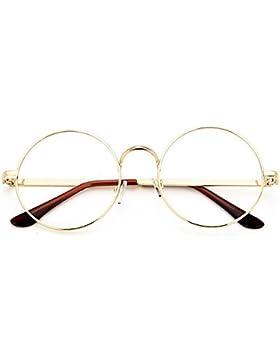TININNA Retro Stile college rotondi Occhiali Metallo Unisex cornice rotonda Occhiali Con 702 Specchio normale...
