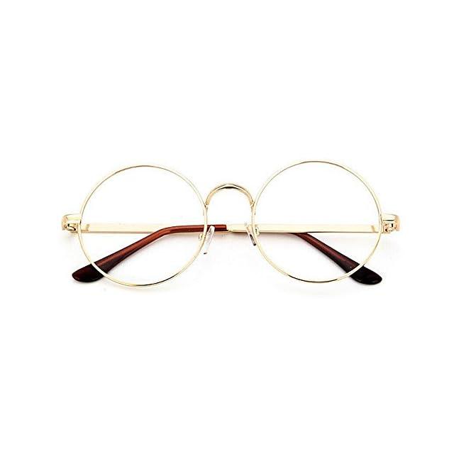 4d9a224ac17 TININNA Unisexe Rétro Rondes Metalique Cadre Frame Lunettes Vintage Verres  Transparent Style Aviateur Pilote Eyeglasses pour ...