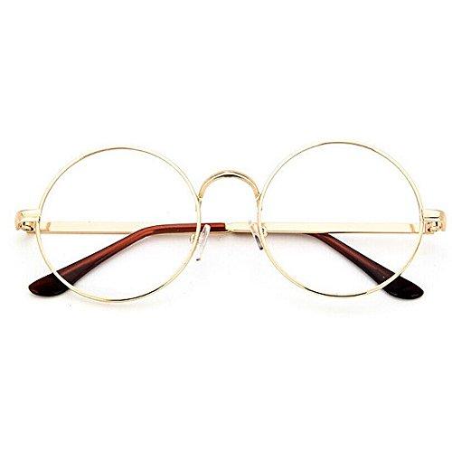 TININNA Unisex Retro Runde Metall klare Linse Brille Mit Fensterglas Damen Herren Brillenfassung,Dekogläser Klassisches Rund Rahmen Golden Muster Bein Mode Brillen (Gold#1) EINWEG Verpackung