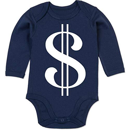 Shirtracer Karneval und Fasching Baby - Dollar Kostüm weiß - 3-6 Monate - Navy Blau - BZ30 - Baby Body ()