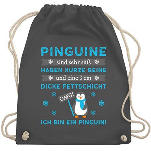 Shirtracer Sprüche - Omg! Ich bin ein Pinguin! - Unisize - Dunkelgrau - WM110 - Turnbeutel und Stoffbeutel aus Bio-Baumwolle