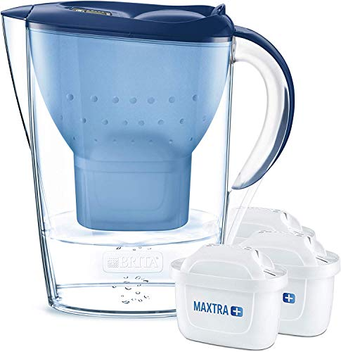 BRITA Marella Water Filter Starter Pack, with 3 BRITA MAXTRA+ Cartridges, Water Filter that Helps with the Reduction of Limescale and Chlorine, in Blue
