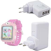 DURAGADGET Cargador De Viaje para AGPtek W6 Reloj Inteligente para niños - con 4 Puertos USB
