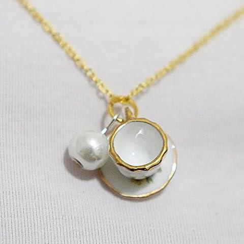 Tasse à thé Collier, collier de perles, Tiny Rose Tasse à thé Set, cuisson fête Bijoux, tasse à café, collier, bijoux de Demoiselles d'honneur