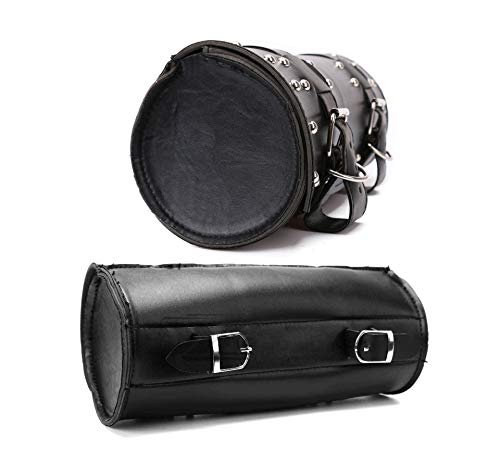 LIDAUTO 2PCS Motorrad-Sattelstamm Motorräder Seitenständer Taschen Gepäckträger-Boxen hinten PU Leder Für Harley Schwarz,2PCS