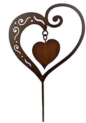 Rost Herz mit Innenherz 65cm Stecker