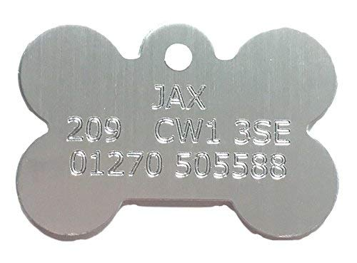 Emblems-Gifts Personalisierbar Individuelle Kleine Silver Dog Bone Pet Tag (30mm x 16mm) (Dog Tags Silver)