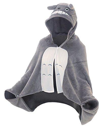 CoolChange Kuscheliger Totoro Fleece Poncho mit Kapuze Größe: -