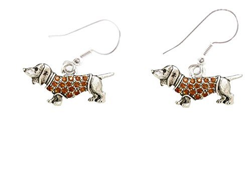 dachshund-weenie-dog-breed-brown-crystal-silver-wire-hook-earrings-jewelry-by-sports-accessory-store