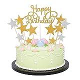 Fiittree Cake Topper Compleanno Decorazione per Torte e Cupcake Oro e Argento (Gold/Silver)
