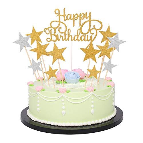 Decoración con las palabras en inglés Happy Birthday y estrellas doradas y plateadas para tarta, 41 unidades, brillantes