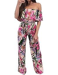Tuta Donna Estivi Senza Bretelle del Stampa Fiore Overall Pantaloni  Classiche Larghi Fashion di Moda Cocktail a180b603beb
