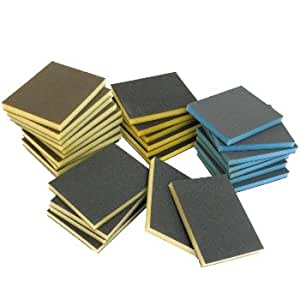 100 x Gemischte Grobe Nass & Trocken Schleifschwamm Blöcke Doppelseitige Oberflächen Pads