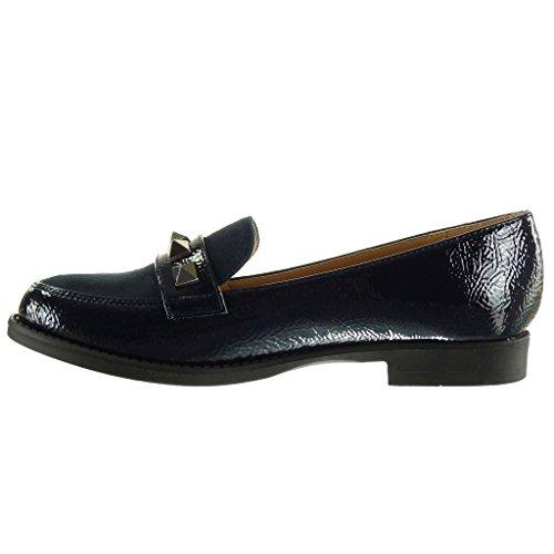 Angkorly Chaussure Mode Mocassin bi-matière slip-on femme clouté verni Talon bloc 2 CM Bleu