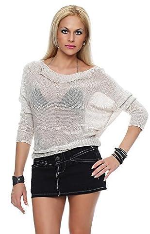 Femmes Filet Pull t-shirt d'été Tunique Pullover Pullover AM 308-1 - Beige, One Size ( 34-40 )
