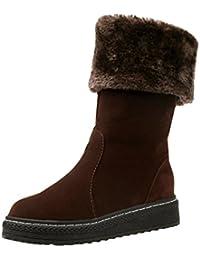 Dooxi Mujer Invierno Antideslizante Nieve Botas Moda Cómodo Plano Botines Casual Calentar Forrado Zapatos
