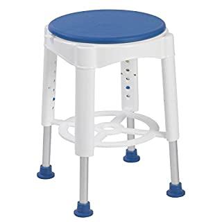 Round Shower & Bath Stool, With Rotating Seat - Height Adjustable ECSSROT