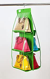 LC Prime® Portable Hanging Shelf Wardrobe Storage Clothing Handbag Shoes Organizer Hanger plastic fabric green 1