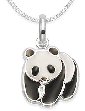 Sterling Silber Kinder Panda Halskette auf Silber Kette–Schwarz & Weiß Emaille Panda–Anhänger Größe: 13mm...