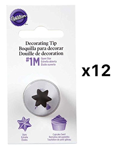Wilton Open Star Tip #1M Icing Decorating Nickel Plated Brass L Coupler(12-Pack) Open Star Tip