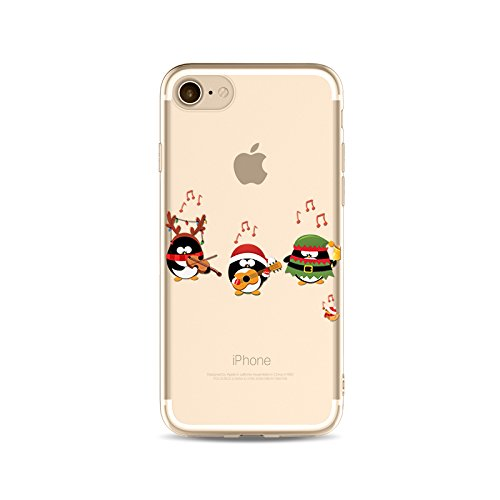 "CoqueiPhone 7 Etui Housse Xmas,BoomTeck Coque Pour 4.7"" Apple iPhone 7 Silicone Souple Transparente Motif Clear Ultra Mince Anti Choc Anti-rayures Gel TPU Etui Protection Bumper Case Merry Christmas  05"