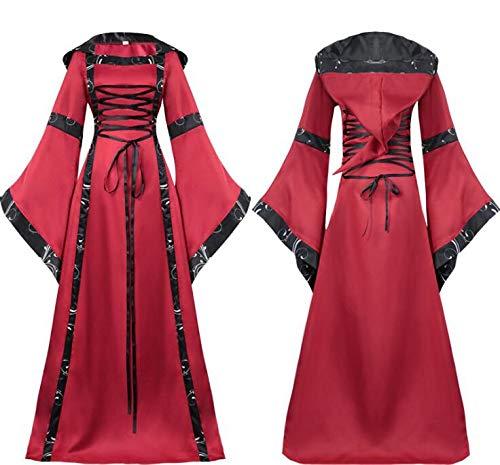 WXFC Mittelalterlichen Kostüm Frauen Vintage Ausgestelltes Ärmel Bandage Kostüm Hohe Taille Damen Renaissance Gothic Prinzessin Kleid für Cosplay Party,B,XXL (Herr Unglaubliche Kostüm Xxl)