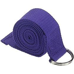 Yoga Cinturon - TOOGOO(R)moda accesorio de Yoga Cintura Pierna fitness ajustable 180CM Correa entrenamiento estiramiento D-Ring algodon hebilla de cinturon purpura oscuro