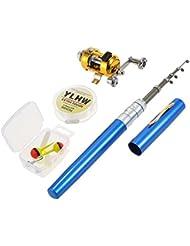 Lixada Reel Fishing Rod Combo Set Mini, Stylo Télescopique de Poche Portable Canne à Pêche Pôle + Bobine en Alliage d'aluminium Ligne de Pêche/Souple/Leurre Jig Hooks