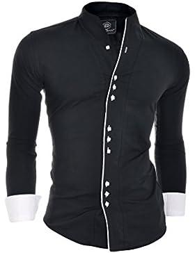 Camicia formale D&R Fashion modo degli uomini con doppio polsini Banda nonno Collare e profili a contrasto