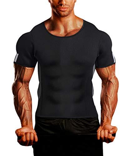 QIGAOZU Mens Hot Shirts Neoprene Sauna Suit Waist Trainer Body Shaper Fitness Jacket Gym Top Clothes Shapewear Short Sleeve