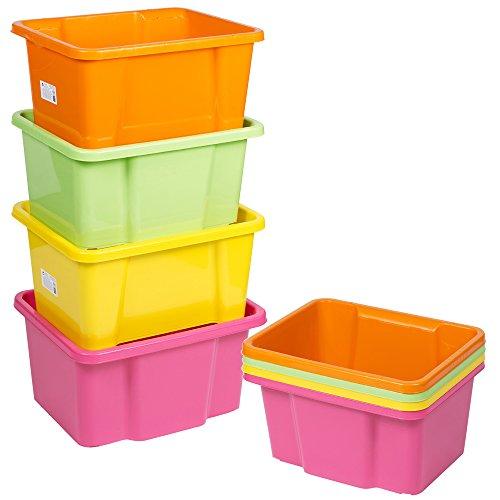 Contenitori Per Giocattoli In Plastica.Easygift Products Set Di 4 Scatole Impilabili In Plastica Robusta