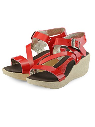 Nell Women Red Solid Wedges ( Size-38)  available at amazon for Rs.345
