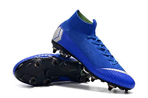 UnderU Herren Fußballschuhe Jungen Fußball Leichtathletik Schuhe High/Low Top Spikes Turnschuhe Profi Turnschuhe Wettkampf, Blau - Blue-high - Größe: 41 EU