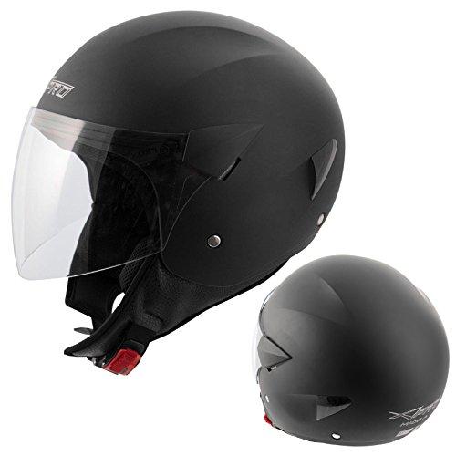 Casco jet scooter moto omologato ece 22-05 visiera antigraffio nero opaco m