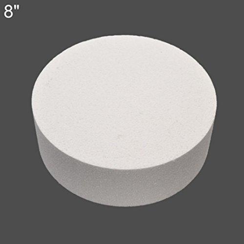 quanjucheer 4/6/20,3cm rund Styropor Schaumstoff Kuchen Dummy Sugarcraft Praxis Modell, Schaumstoff, weiß, 20,32 cm (8 Zoll) - Dummy-kuchen 6 Runde
