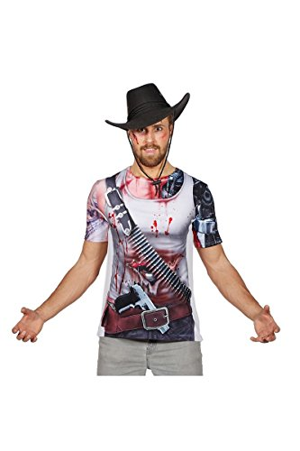Zombie T-Shirt Kostüm Untote Halloween Haut Wunden Cowboy Horror Karneval - Halloween Zombie Cowboy Kostüm