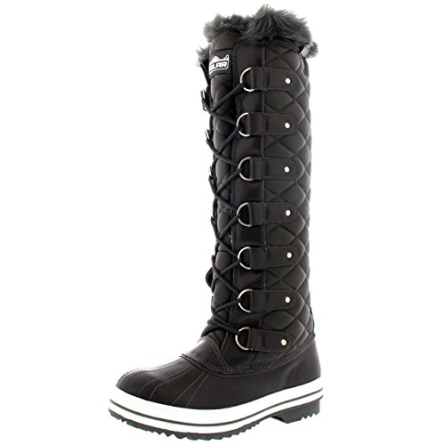Polar Damen Quilted Knie Hoch Ente Pelz Gefüttert Regen Schnüren Dreck Schnee Winter Stiefel - Grau Leder - GRL39 AYC0052 (Leder Gefüttert Pelz)