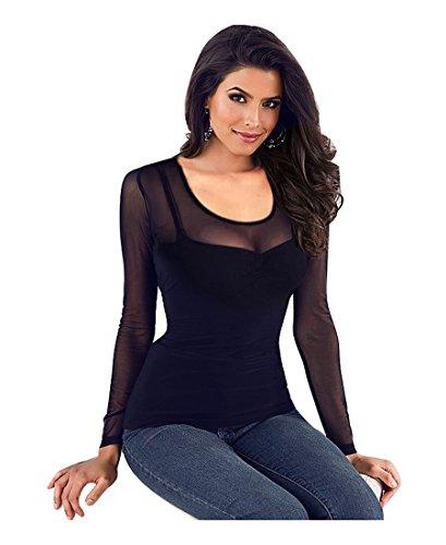 Imixcity donna maglie a manica lunga sexy transparente blusa elegante (x_nero, large)