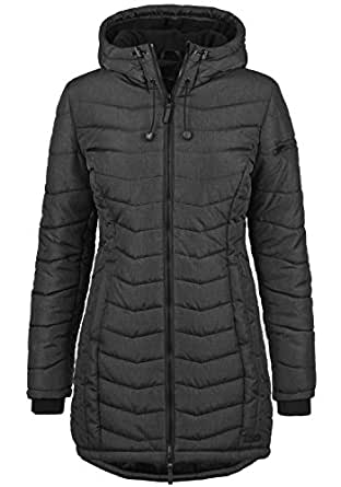 BlendShe Nelly Women's Quilted Coat Parka Outdoor Jacket with Hood, Size:XS, Colour:Black (20100)