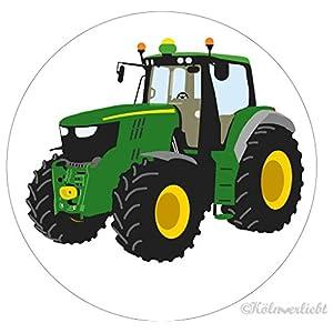 """Design-Magnet 6,3cm (rund)""""grüner Traktor"""", Kühlschrankmagnet, Geschenk, Jungengeschenk"""